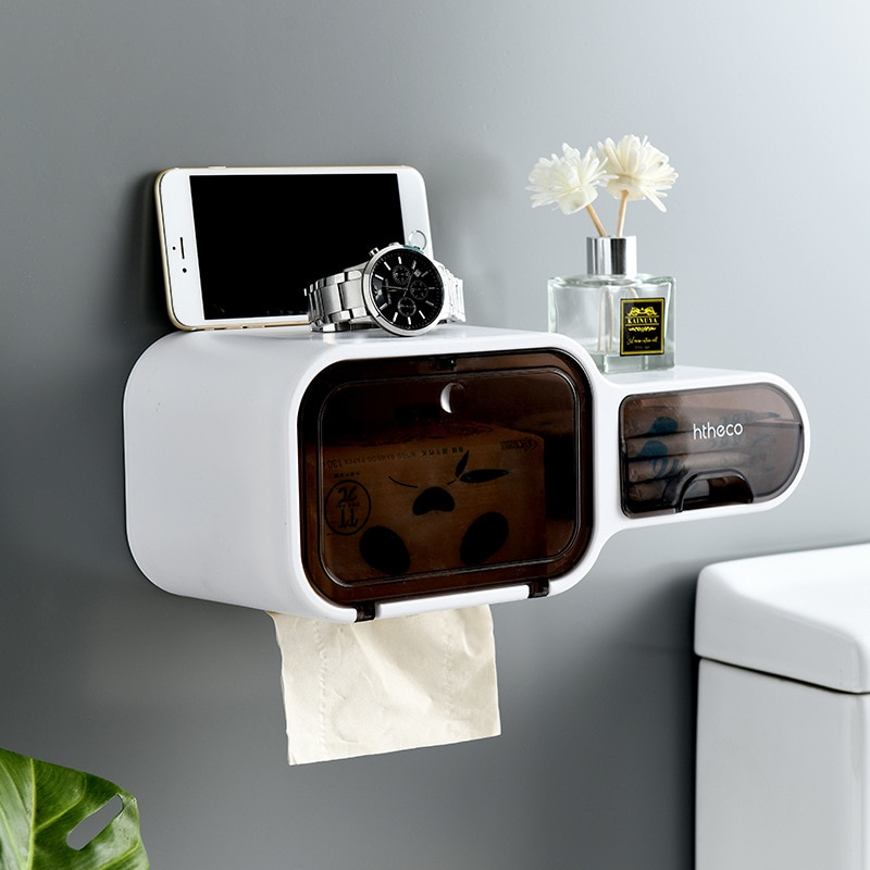 Household Toilet Toilet Roll Tissue Box Toilet Paper Tissue Holder Toilet Paper Shelf Punch-free Wall-mounted Sundry Storage Box jiangchaobo kitchen paper storage box paper box paste wall mounted paper towel holder toilet tissue box