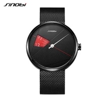 2021 sinobi mens watches fashion casual waterproo quartz watch for men stainless steel strap mesh belt wristwatch orologio uomo