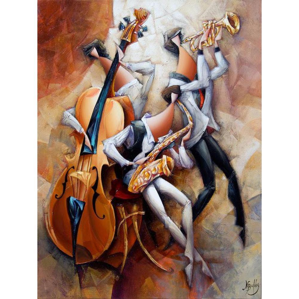 Cuadros al óleo de arte abstracto, música Jazz, arte moderno pintado a mano, cuadros de pared coloridos de alta calidad, decoración Musical para habitación