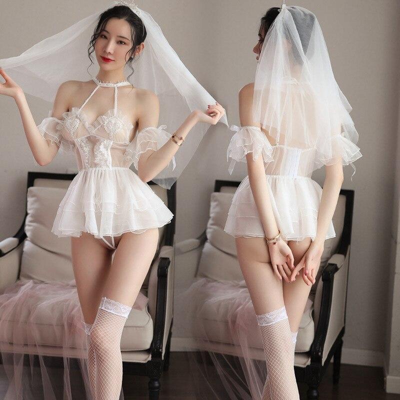 Lencería Sexy con apliques De encaje Para Mujer, Vestidos De boda con...
