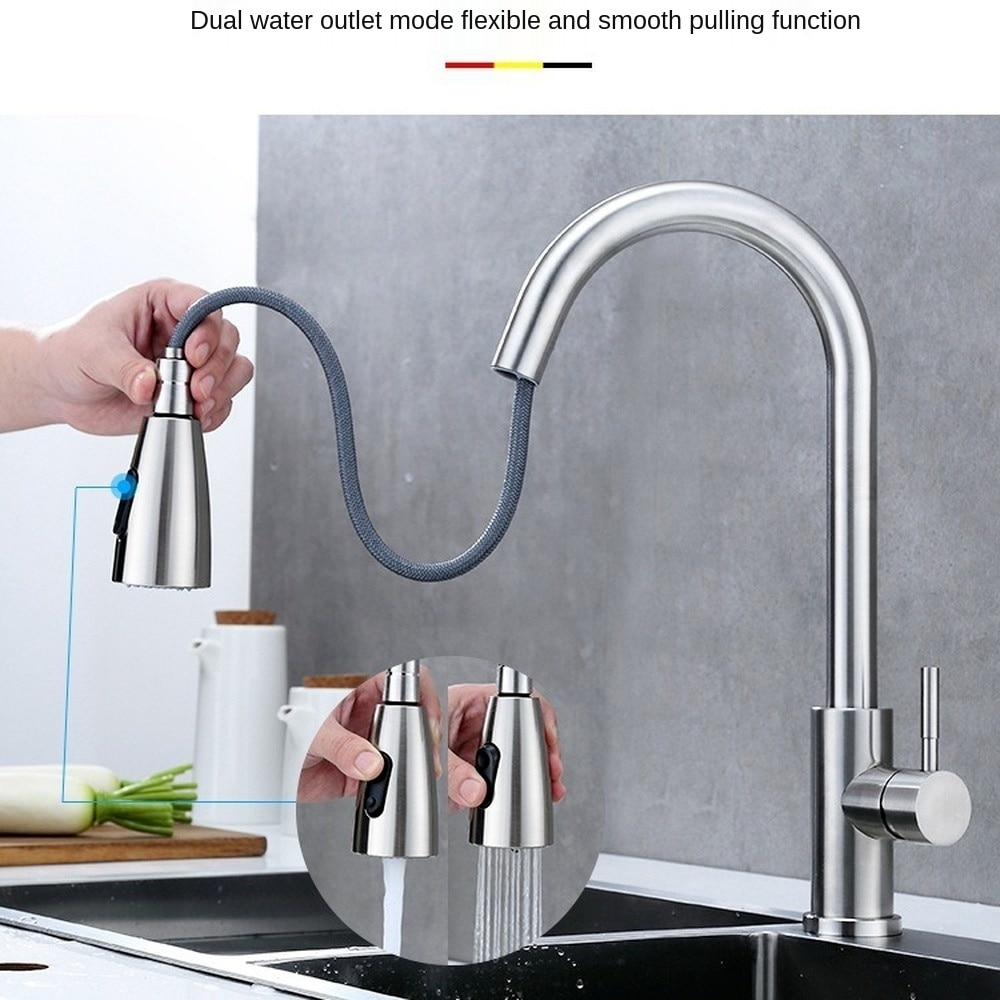 2021Kitchen Faucet Pull-out Hot and Cold Water Kitchen Faucet Single Handle Swivel Sink Faucet bathroom faucet gold single luxury gold kitchen faucet pull out