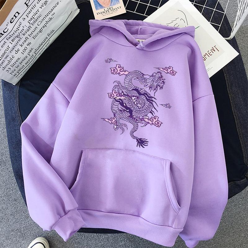 Dragon Print sweatshirt Women hoodie Cute Hip hop Kawaii Harajuku Oversized kawaii womens tops clothes