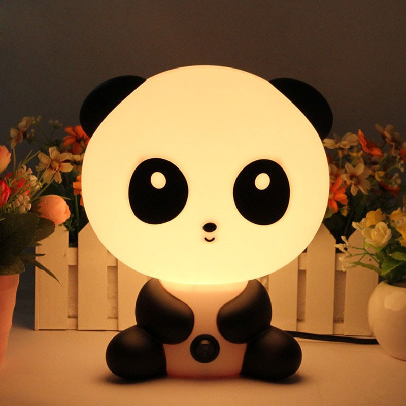 الحديث الكرتون الباندا ليلة ضوء توفير الجدول مصباح مع الاتحاد الأوروبي التوصيل نوم السرير لمبة مكتب أضواء غرفة الأطفال 110 فولت 220 فولت