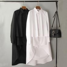 Camisa longa de manga longa coreano feminino 2019 novo solto gola quadrada frente curta para trás longo camisa branca feminina plus size