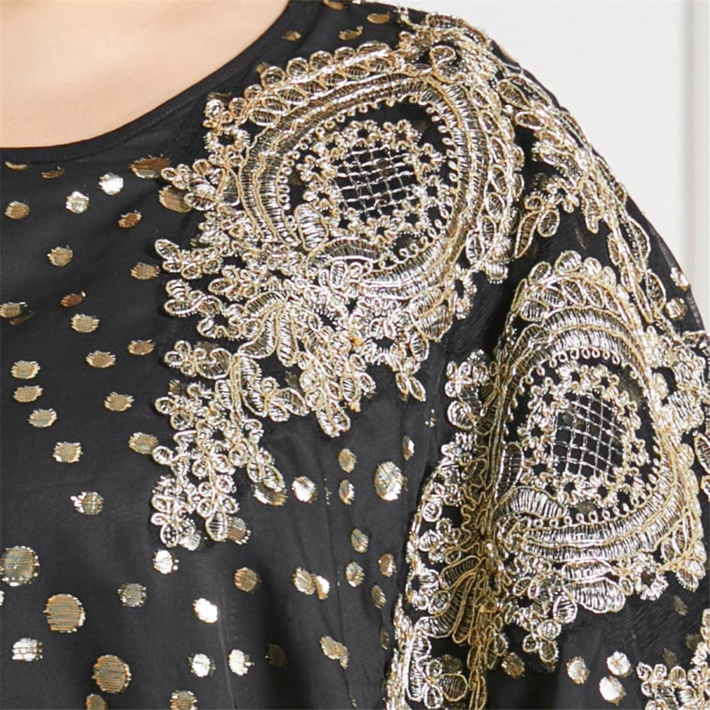 Ramadan Islamic Clothing Abaya Muslim Women Long Dress Polka Dot Appliques Oversized Loose Bat Sleeve Maxi Robe Gown Plus Size