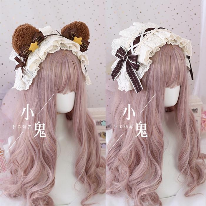 Lolita orejas de oso lindo banda para el cabello pinza para el pelo de hermana suave accesorios para el cabello Lolita KC aro marrón de trabajo a mano adornos para el cabello Cosplay