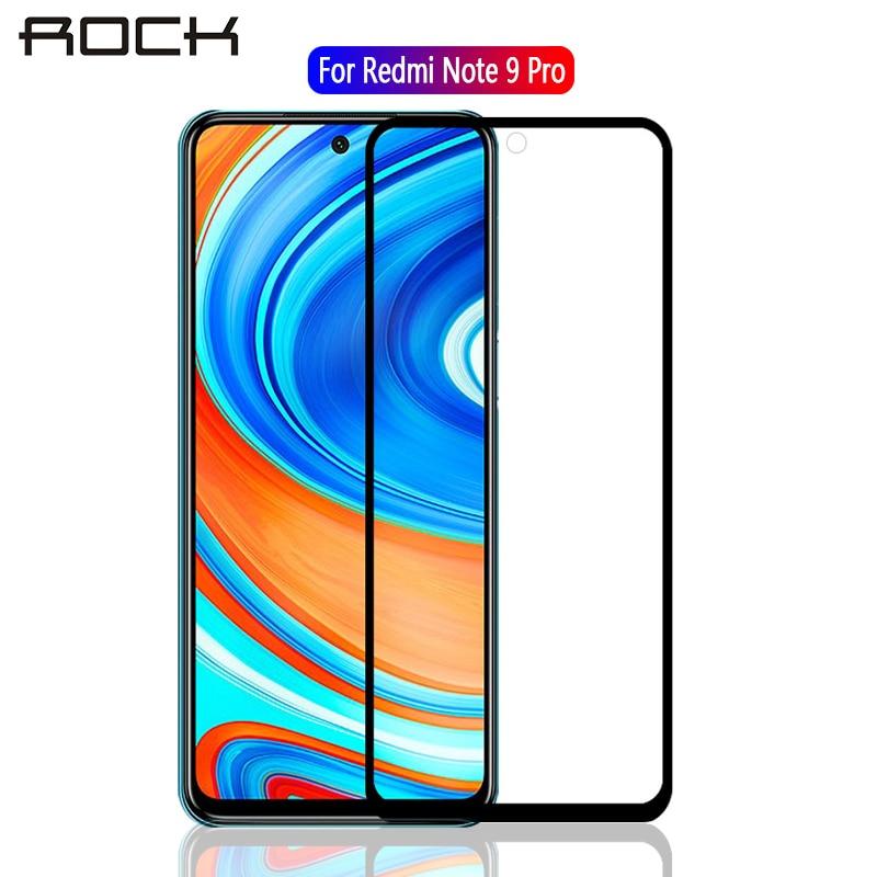 ROCK de vidrio templado para Xiaomi Redmi Nota 9 Pro Protector de pantalla completa de la cubierta de protección de vidrio en Redmi Note9 Pro nota 9pro película