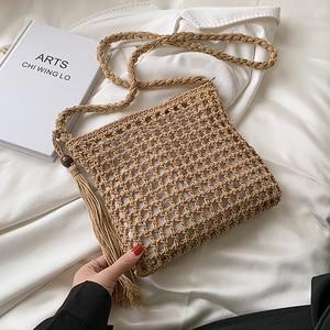 Retro Hollow Woven Woolen Crossbody Bag for Women 2021 Summer Fashion Tassel Beach Shoulder Handbags and Purses