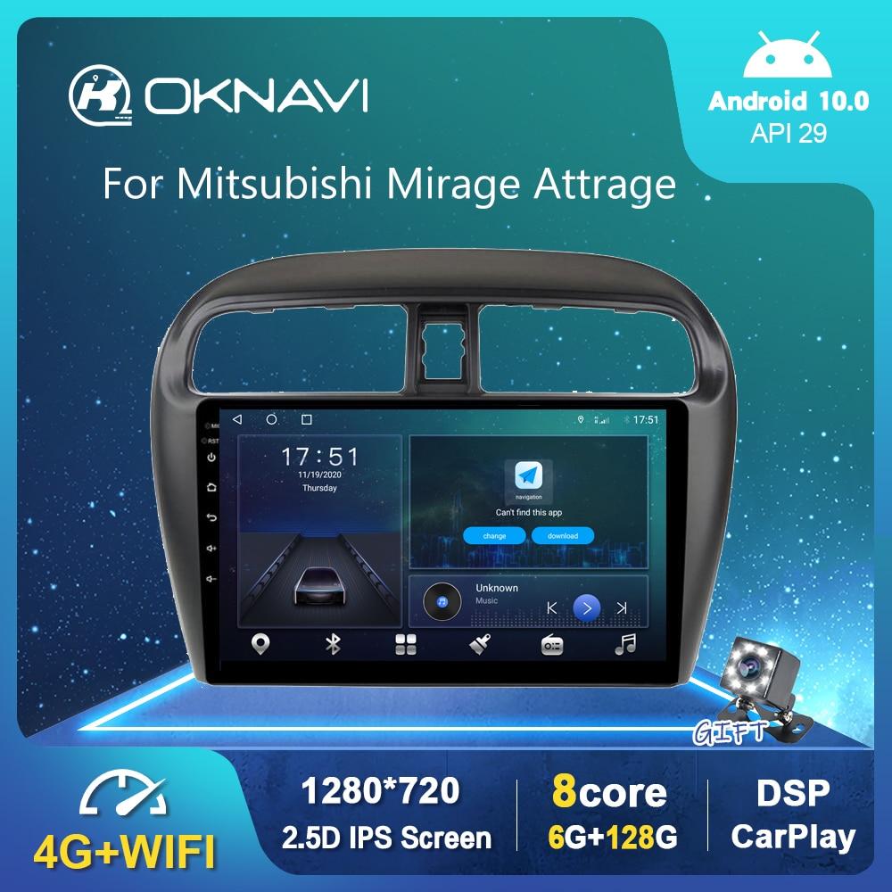 Фото - Автомагнитола на Android 10,0 для Mitsubishi Mirage Attrage 2012-2018, GPS, мультимедийный стерео проигрыватель, Carplay, OBD, Bluetooth, 6G, 128G автомагнитола 2 din мультимедийный видеоплейер с gps навигацией bluetooth carplay dvd для toyota venza 128 2008 6g 2016g