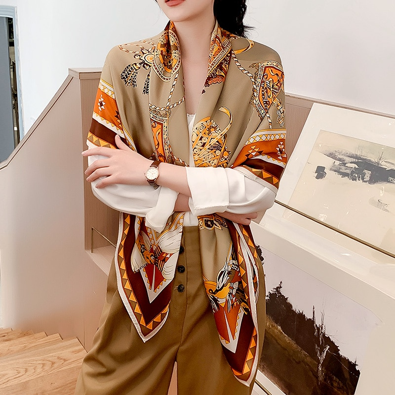 Bufanda de seda 100% estampado de carruaje chal suave alta calidad Thicken 16mm bufandas de moda para mujer