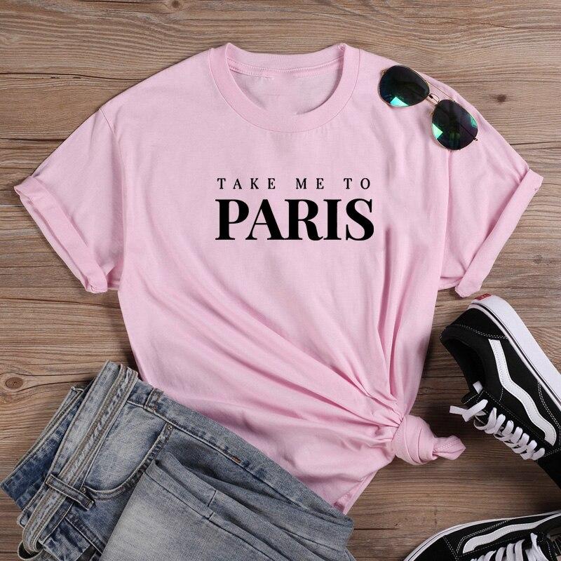 París Camiseta T Shirt de algodón de las mujeres Camiseta Harajuku Mujer...
