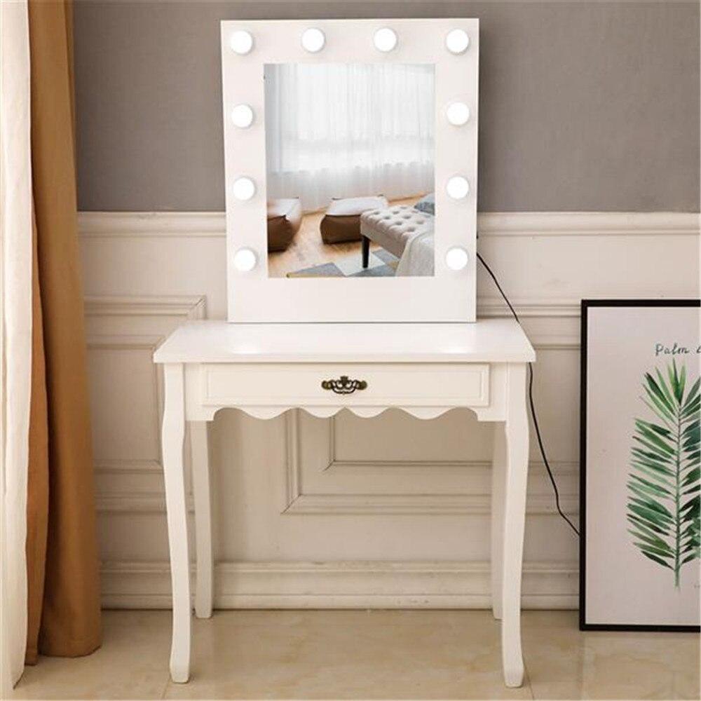 طاولة مكياج مع مرآة ومصباح للأدراج ، للمكياج متعدد الأغراض وفساتين الشعر والكمبيوتر المحمول في غرفة النوم وخزانة الملابس