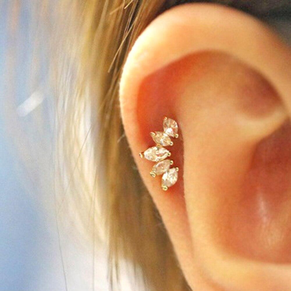 1Pc CZ gema corona Tragus Stud Piercing Conch, Helix cartílago pendiente de cristal joyas oído perforación