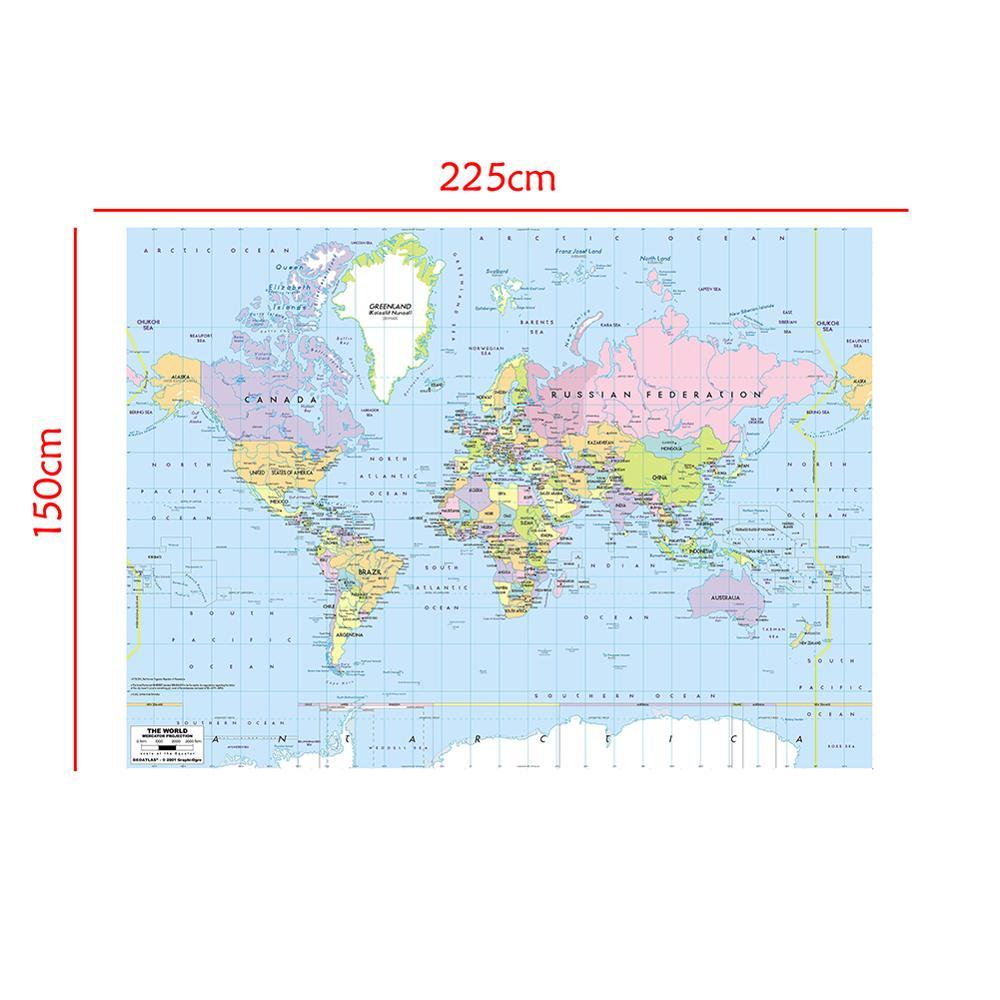 Proyección del mapa del mundo de 150x225cm, mapa del mundo sin olor,...