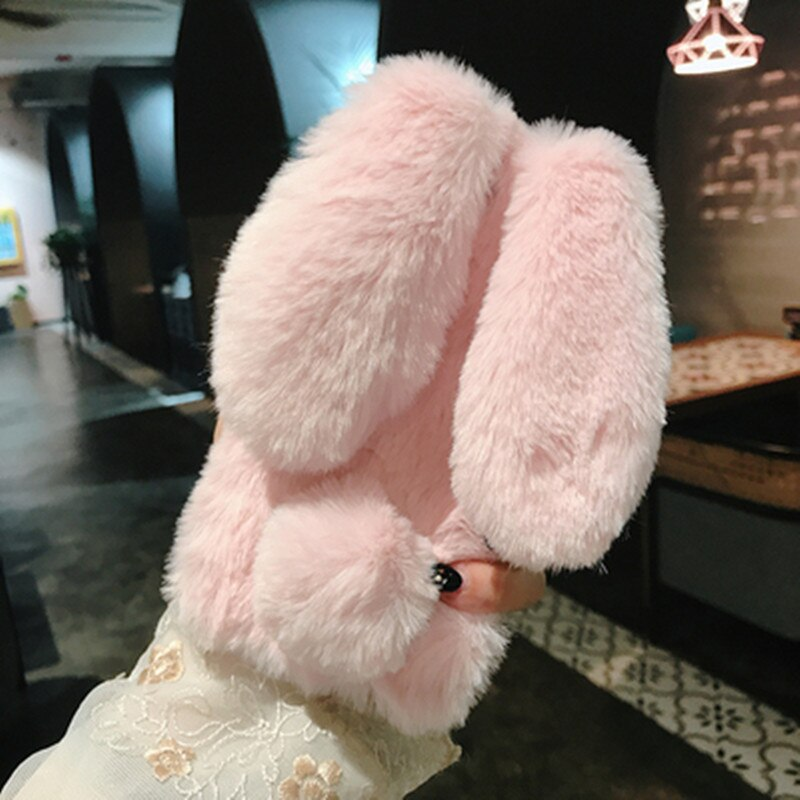 Fluffy Rabbit Silicone Plush cover for Meizu U20 U10 M5 M6 Note Note 9 8 M3 M5s M5C M6T M8 lite C9 16s Pro 6 7 Plus Phone case
