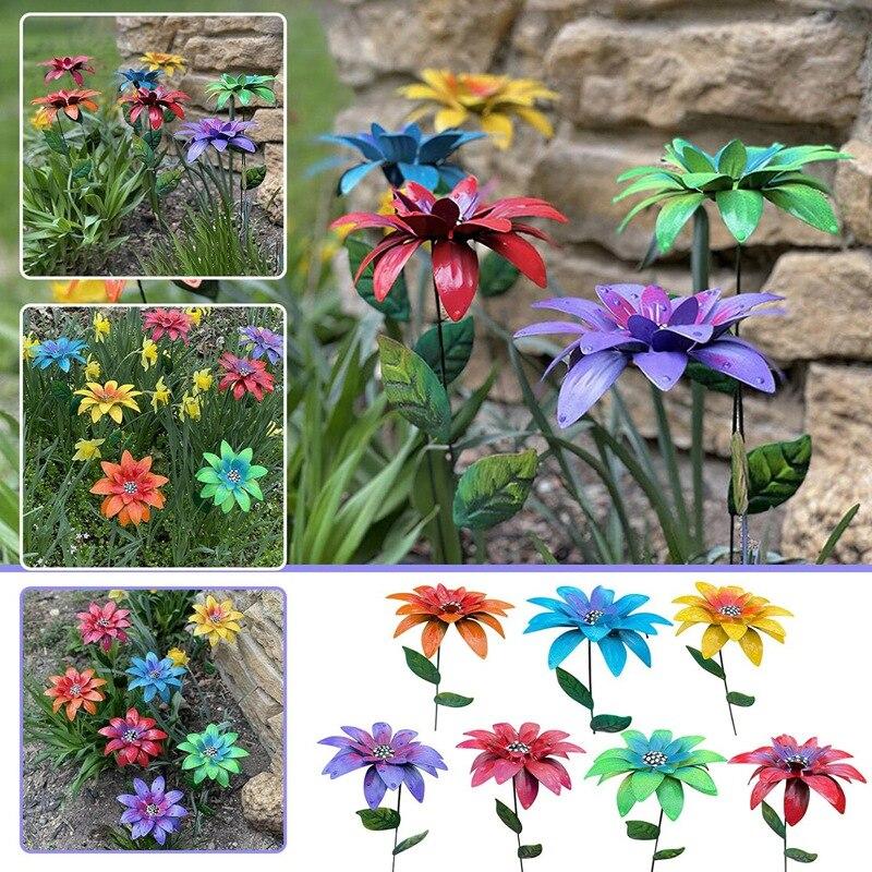 1pcs colorful foil plants 1Pcs Dayliy Garden Flower Stakes Plastic Colorful Flowers Plants Decor Stakes for Outdoor Garden Park Lawn Art Decoration