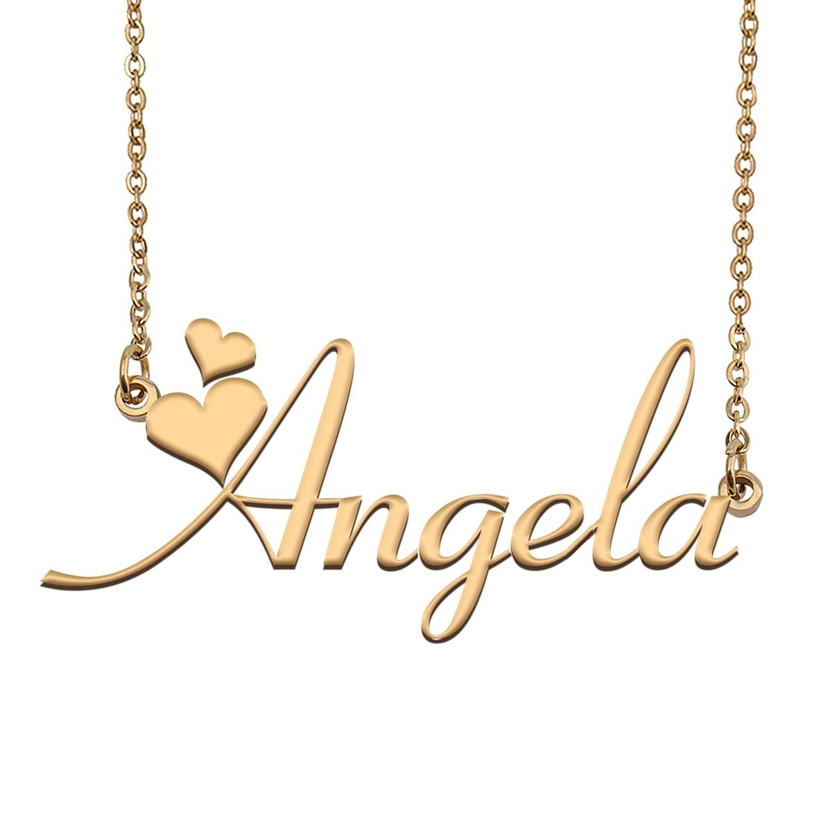أنجيلا اسم قلادة شخصية الفولاذ المقاوم للصدأ المرأة المختنق 18k مطلية بالذهب الأبجدية قلادة بحرف مجوهرات أصدقاء هدية