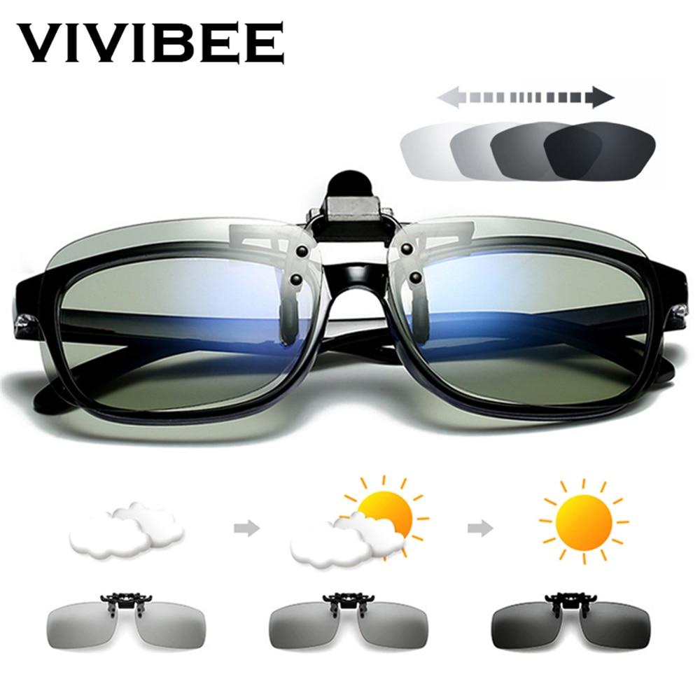 VIVIBEE Polarized Square Flip Up Clip on Sunglasses Men Photochromic Polarised Women Sun Glasses for