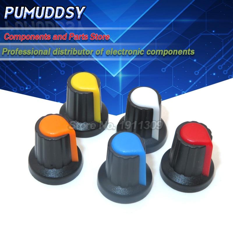 20 piezas WH148 potenciómetro tapa amarillo naranja azul blanco rojo 15X17mm AG2 perilla