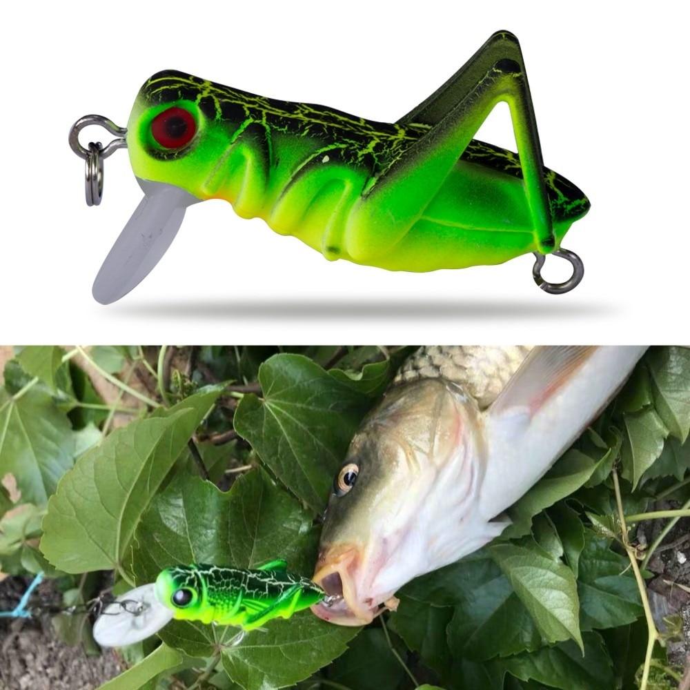 Trucha señuelo de pesca de 35mm 5g, mini insecto saltamontes de hundimiento lento, señuelo de pesca, cebo de cabeza de caza para trucha de color verde