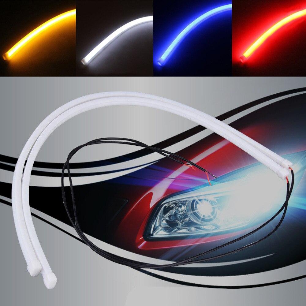 2Pcs 30cm 12V Daytime Running Lights Waterproof Auto Car DRL Driving Fog lamp Energy Saving Shock-Proof Flexible LED Strip Bar