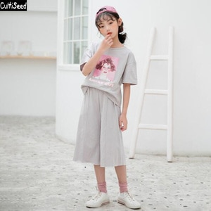Cultiseed Girls Summer Cartoon Print Casual Sets Clothes Big Children Kids Short Sleeve T-Shirt+Wide Leg Pant 2pc Suit Clothing