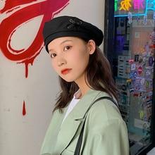 Women's Japanese Style Autumn Winter Retro British Hat Men Ins Black Beret Fashion Painter Cap Women