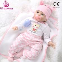 UCanaan 55cm Realistic Reborn Baby Doll Soft Silicone Stuffed Lifelike Baby Doll Toy Ethnic Doll For