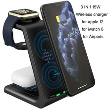 3 in 1 15W  Qi Wireless Quick Charger Holder For Iphone12 11 X XS Max  Mini Airpods Pro Apple Watch6
