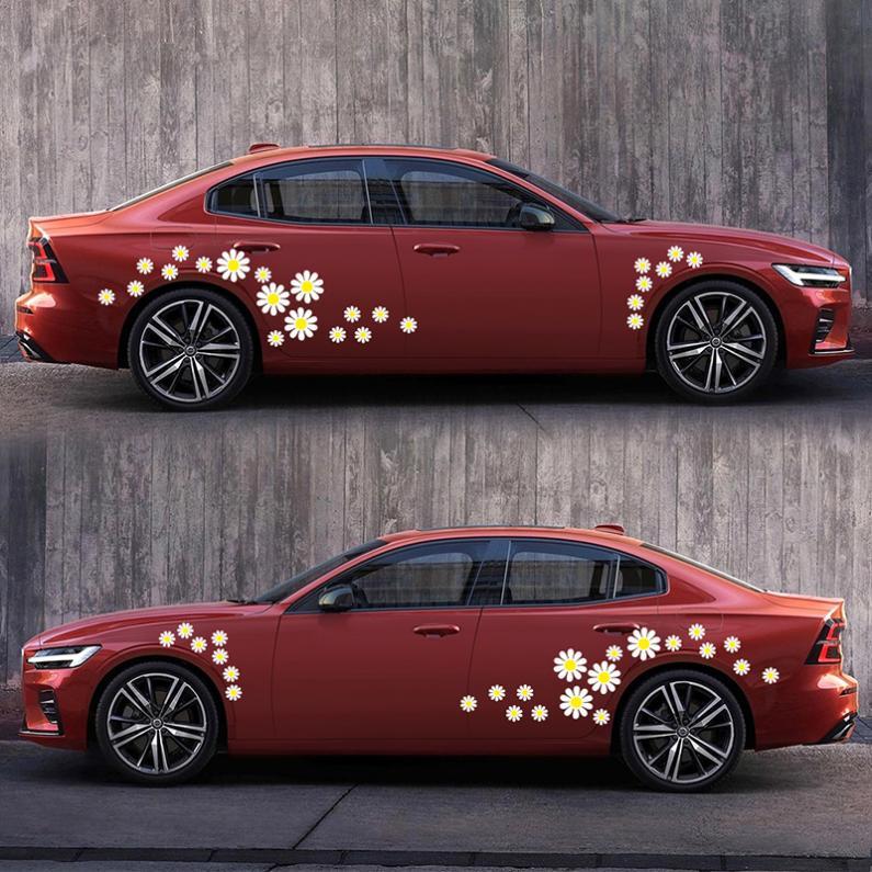 Купить с кэшбэком 48pcs/Set PVC Daisy Flower Pattern Personality Car Motorcycle Body / Bumper / Hood / Scratch Stickers
