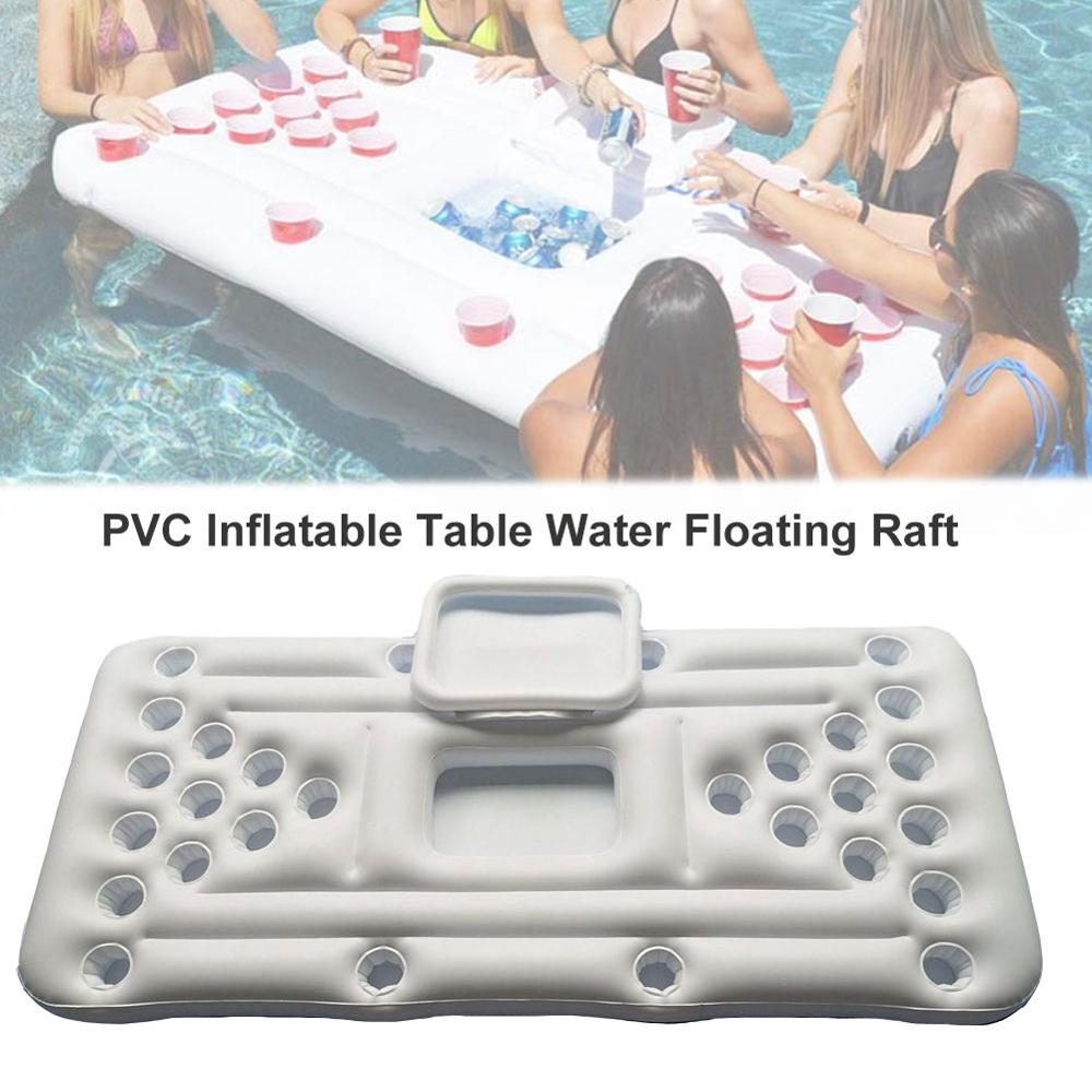 28 Cup Holder Inflatable Beer Pong Table New 2020 Summer Pool Float Water Party Fun Raft Floating Pool Pong Game Air Mattress