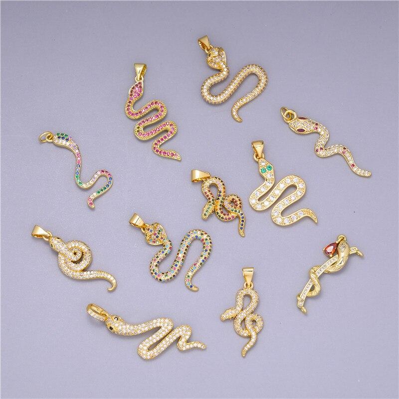 aliexpress.com - Juya DIY Talisman Jewelry Making Supplies Micro Pave Rainbow Cubic Zirconia Gold Cobra Snake Charms Pendants Wholesale