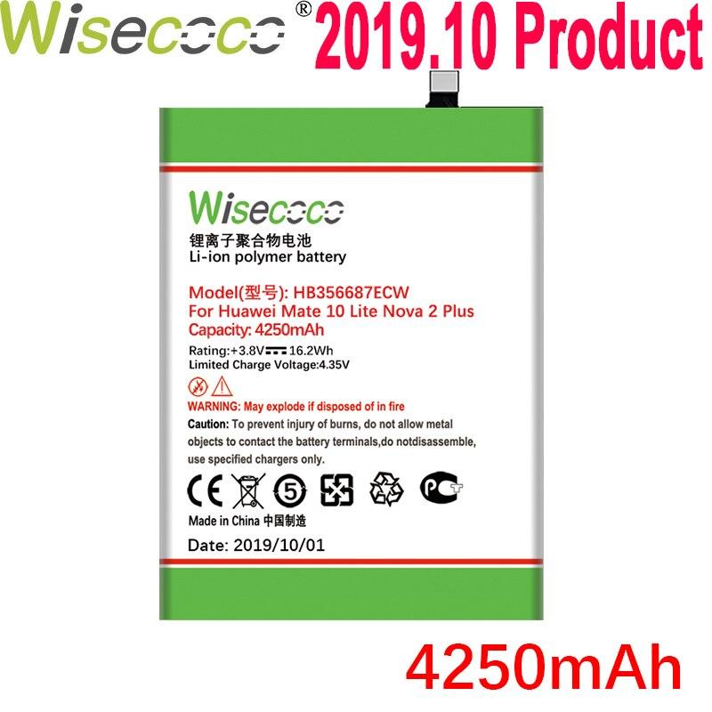 Wisecoco 4250mAh HB356687ECW batería para huawei Nova 2 plus Nova 2i honor 9i 7x huawei G10 Mate 10 lite Teléfono + número de seguimiento