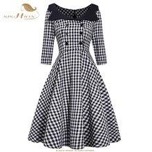 SISHION 50s 60s ретро винтажное платье VD1306 рукав 3/4 Хепберн женское черное белое платье на пуговицах элегантное платье в клетку
