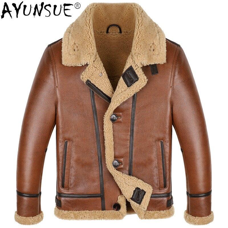 AYUNSUE-سترة من جلد الغنم للرجال ، معطف من الصوف الحقيقي ، ملابس شتوية ، Chaqueta Hombre LXR912