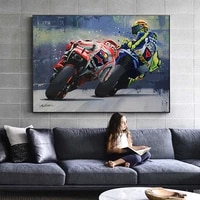 oil prints valentino rossies poster motorcycle canvas painting posters print cuadros wall art picture for living room