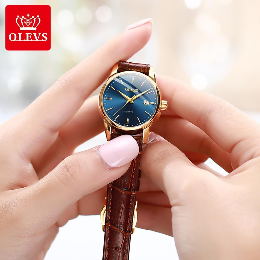 OLEVS Top Brand Quartz Women Watches Waterproof Leather Strap Fashion Women Watch Date Clock enlarge