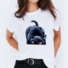 T-Shirt pour femmes, vêtement décontracté, amusant de chat, joli Animal imprimé, à la mode