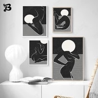canvas painting sexy girls body abstract line moon star wall art posters and prints black pictures for living room wall decor