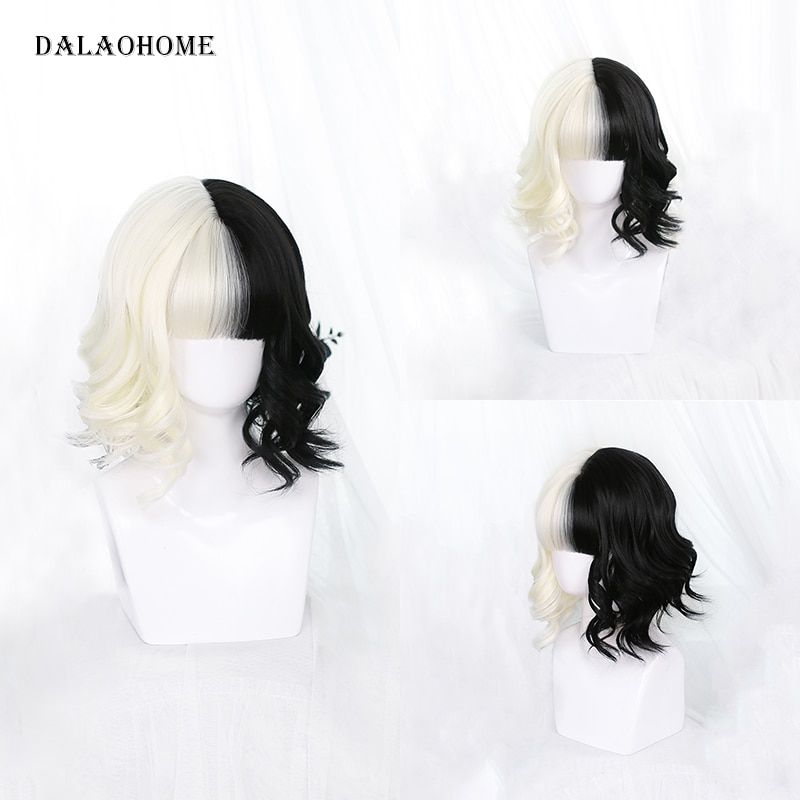 Dalaohome Cruella Cosplay Wig Short Bob Cos Halloween Party Woman Wigs Hair Lolita Heat Resistant Synthetic Half Black White Wig