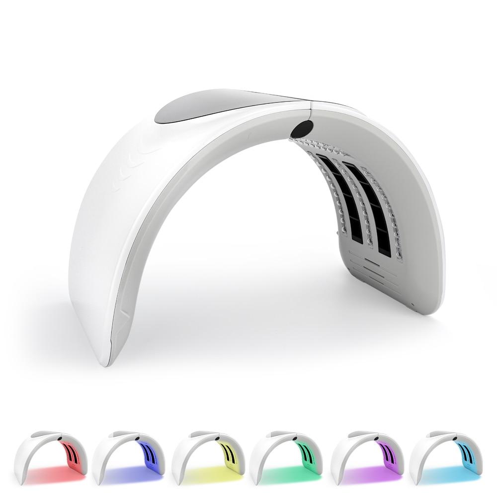 Foldable 7 Colors PDT Led Light Facial Mask Machine Acne Treatment Face Whitening Skin Rejuvenation Photon Light Therapy Device недорого