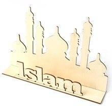 Wooden Stand Sign Islam Eid Mubarak Ramadan Word Plaque  DIY Art Craft Table Ornament Home Desktop Decoration