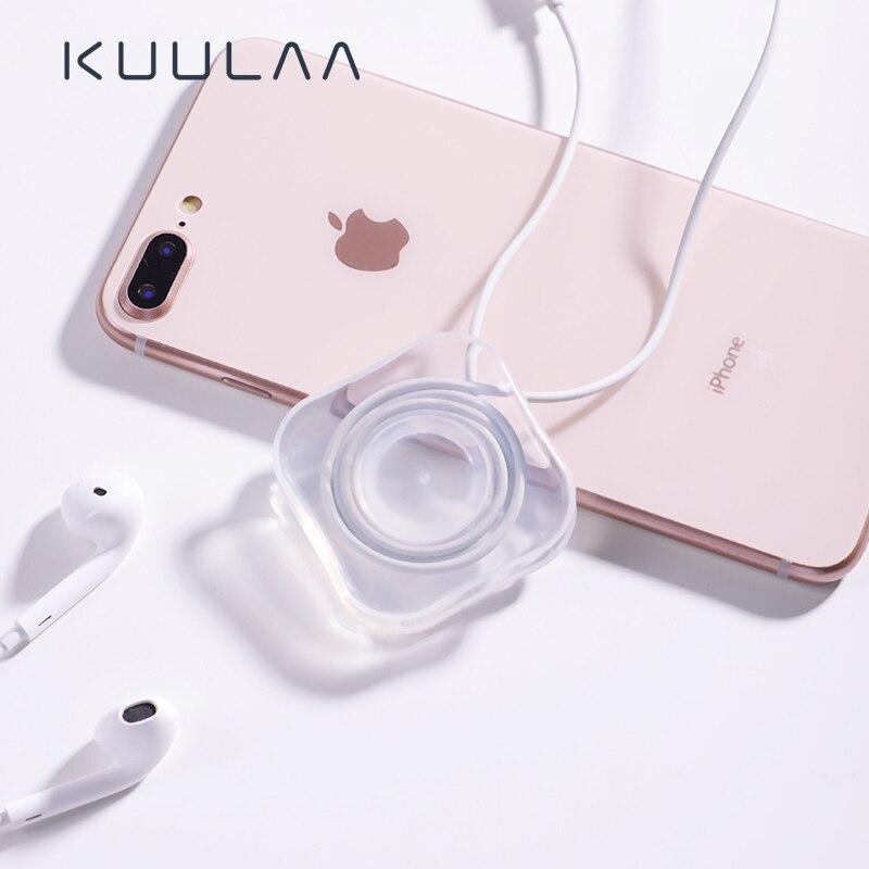 KUULAA, soporte para teléfono móvil de pared de succión, organizador de cables USB para auriculares, Protector de gestión de cables