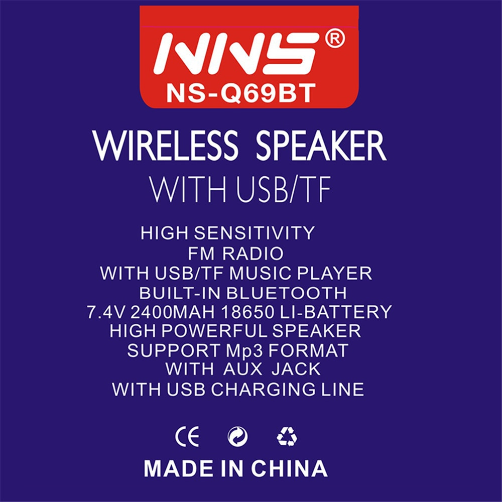 NSS NS-Q69BT Portable Bluetooth Speaker Mp3 Player with FM Radio Support USB TF Card AUX Home Outdoor Wireless Loundpeakers enlarge