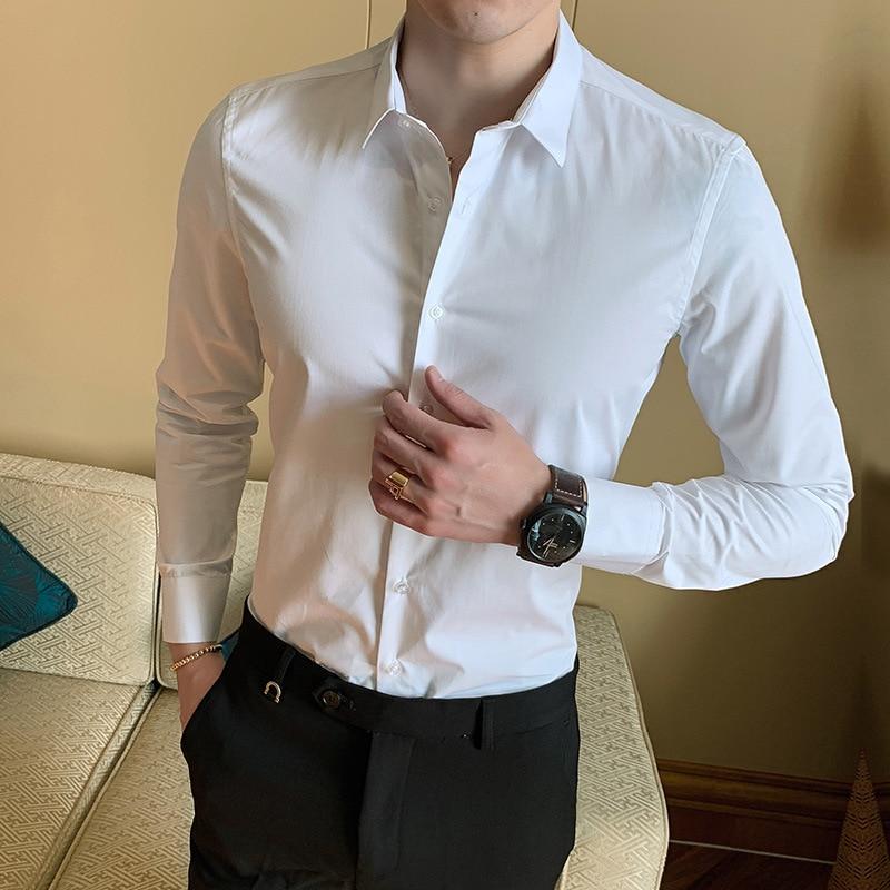 LUX ANGNER модная мужская рубашка с длинным рукавом рубашки мужские однотонные Slim Fit повседневные деловые рубашки мужские брендовые социальных ...
