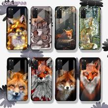 Anime drôle foxs belle mignon verre trempé étui de téléphone pour Samsung S6 7 8 9 10 20 edge plus E A7 2018 S10 lite 2019 Note10pro