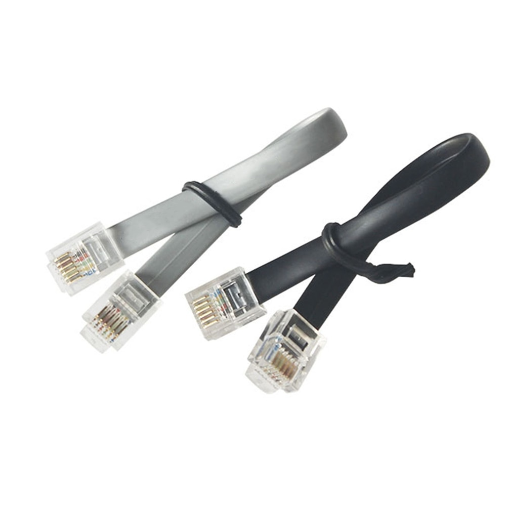 Cable de puente de teléfono de 6 núcleos CNC de cobre puro 6P6C de 50cm Cable plano de doble cabeza RJ12 para calentador de agua