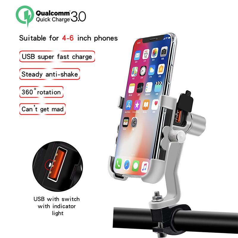 Soporte Universal para teléfono QC 3,0 para motocicleta cargador USB soporte impermeable para teléfono móvil montaje adaptador de corriente montaje en espejo