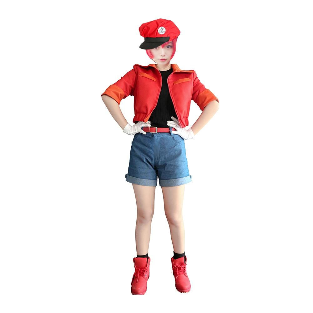 Brdwn las células en el trabajo de las niñas para mujer rojo sangre celular RBC Seqkeqkyuu Cosplay disfraces