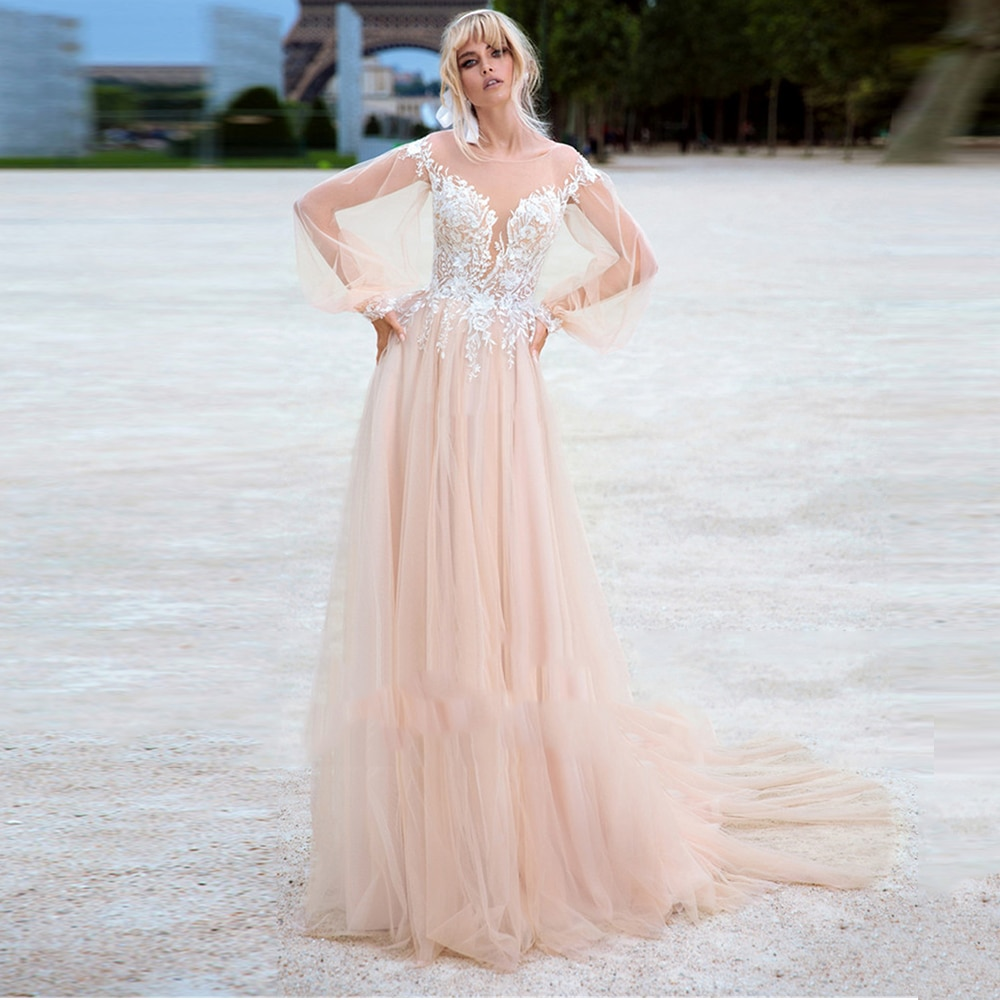 Review A-Line Pink Tulle Wedding Dress Long Sleeves Lace Applique Buttons Sweep Train Bridal Gowns 2021 Vestido De Noiva